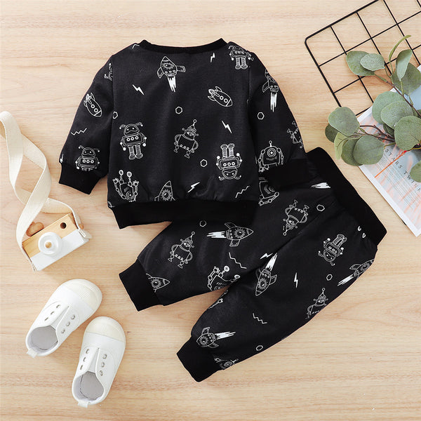 Baby Boys Robot Printed Long Sleeve Top & Pants Baby Wholesale Clothing
