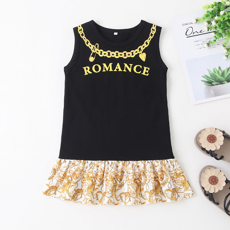 Girls Romance Necklace Printed Short Sleeve Dress Baby Girl Clothes Wholesale