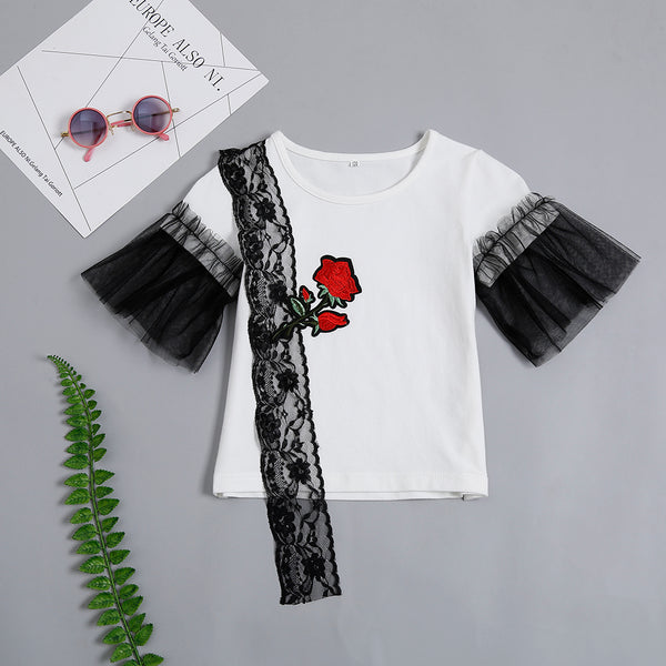 Girls Rose Embroidery Mesh Sleeve Lace Splicing Top Girls Clothing Wholesale
