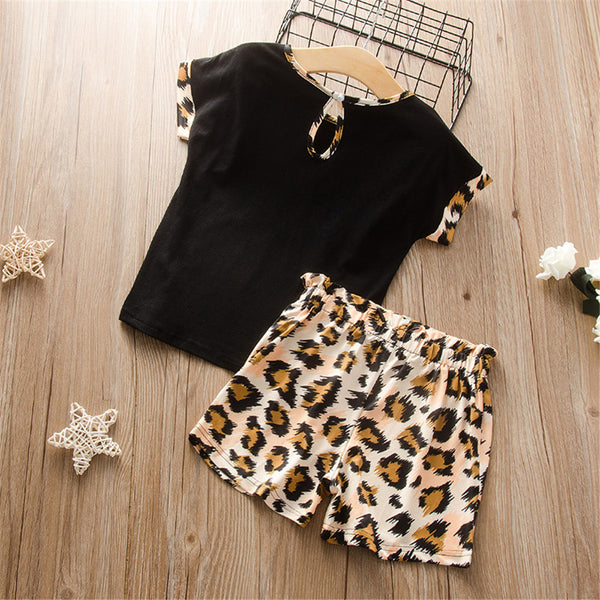 Girls Round Neck Leopard Short Sleeve Top & Shorts trendy kids wholesale clothing