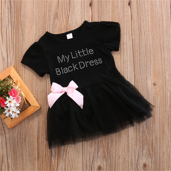 Baby Girls Round Neck My Little Black Dress Printed Bow Short Sleeve Mesh Dress Wholesale Baby Clothes