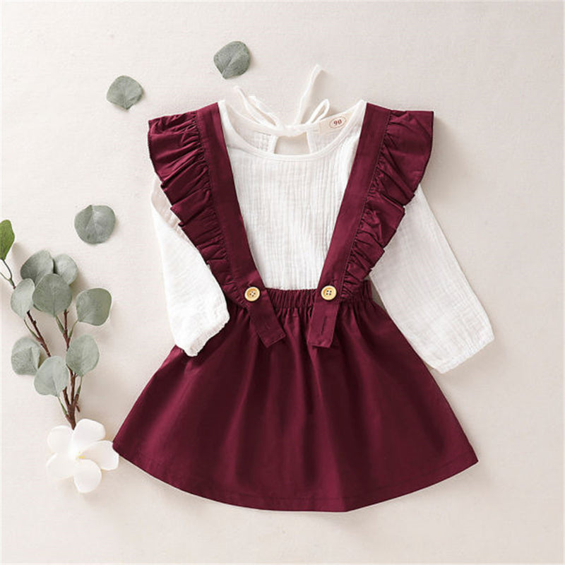 Girls Ruffle Button Solid Long Sleeve Top & Skirt