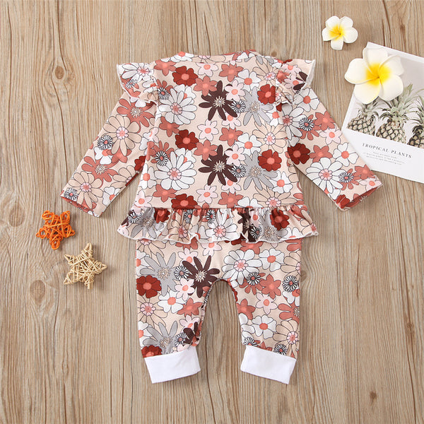 Baby Girls Ruffle Floral Long Sleeve Romper Wholesale Baby Clothes