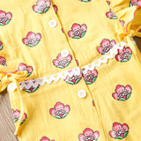 Girls Ruffle Flower Printed Button Jumpsuit & Headband Wholesale Baby Girl Clothes