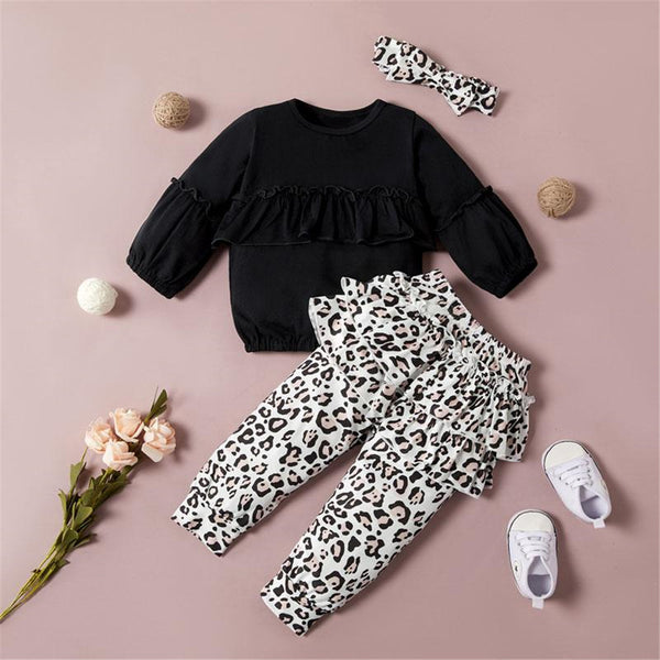 Girls Ruffle Long-sleeve Solid Tops & Leopard Pattern Pants & Headband