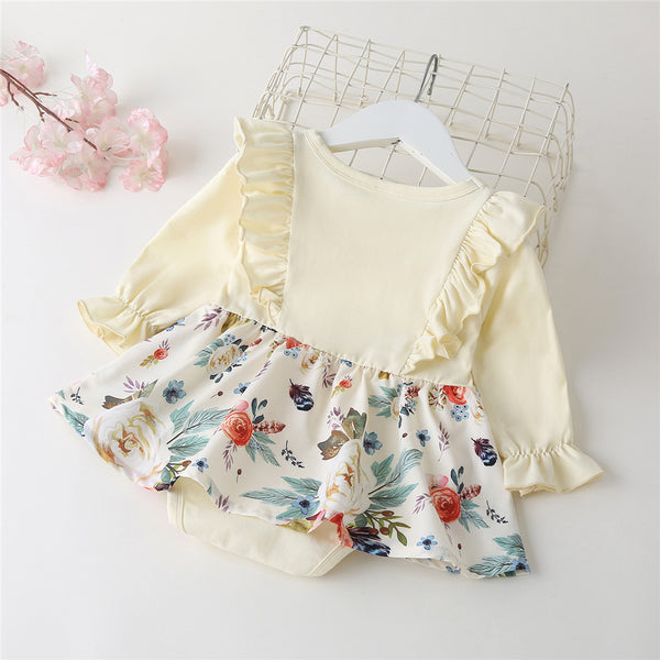 Baby Girls Ruffle Long Sleeve Floral Printed Romper Baby Clothes Suppliers