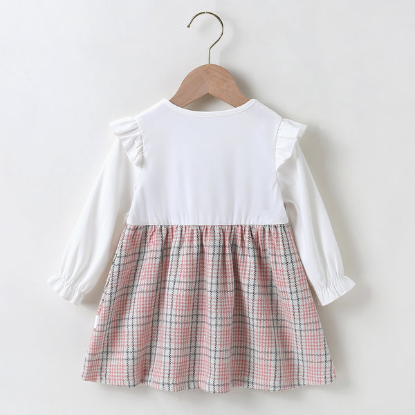Baby Girls Ruffle Long Sleeve Plaid Pleated Dress Babywear Wholesale
