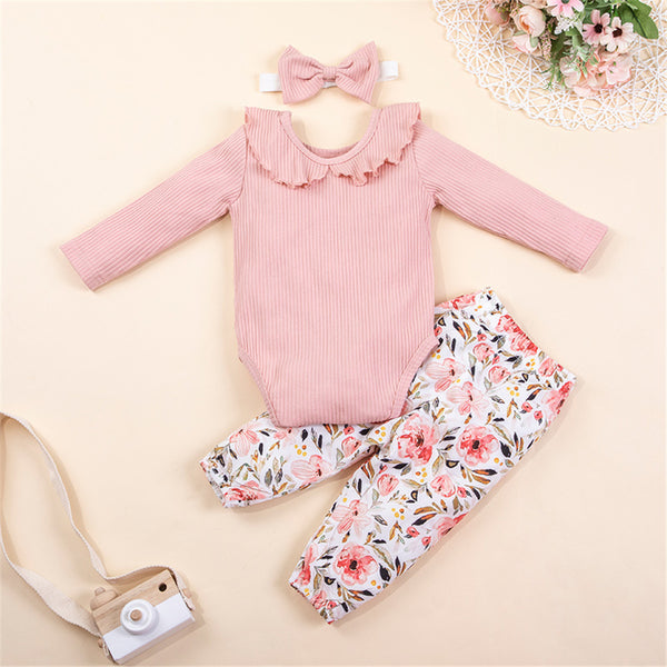Baby Girls Ruffle Long Sleeve Romper & Floral Pants Baby Outfits