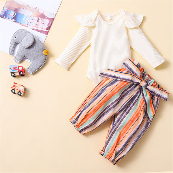 Baby Girls Ruffle Long Sleeve Romper & Striped Bottoms Baby Wholesale Suppliers
