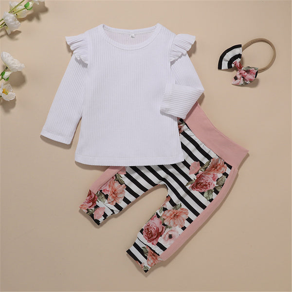 Baby Girl Ruffle Long Sleeve Top & Floral Stripe Pants & Headband Wholesale