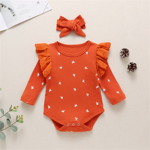 Baby Girls Ruffle Pattern Printed Long-sleeve Romper & Headband Wholesale