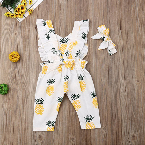 Baby Girls Ruffle Pineapple Printed Romper & Headband Wholesale Baby Clothes