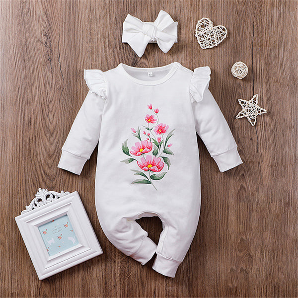 Baby Girls Ruffle Printed Flower Long Sleeve Romper & Headband Bulk Baby Clothes Online
