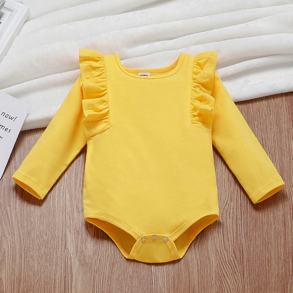 Baby Boys Ruffle Solid Long Sleeve Romper Cheap Bulk Baby Clothes