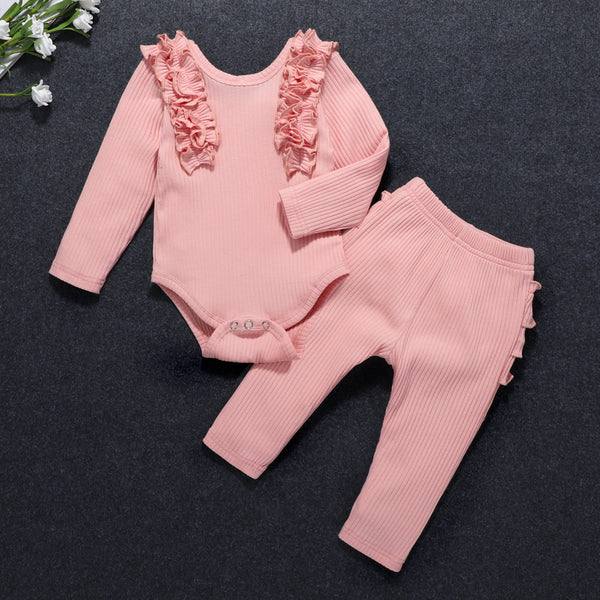 Baby Girls Ruffle Solid Long Sleeve Romper & Pants Baby Outfits