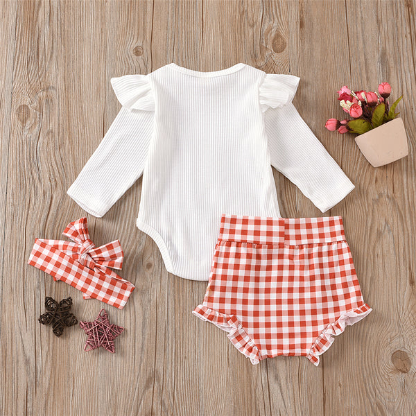 Baby Girls Ruffle Solid Top & Plaid Shorts & Headband Baby Clothing Wholesale