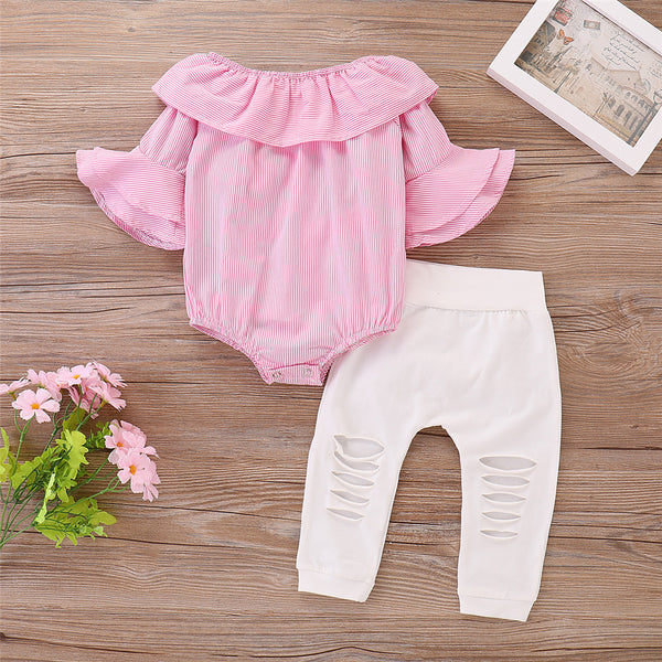 Baby Girls Ruffle Striped Romper & Ripped Pants