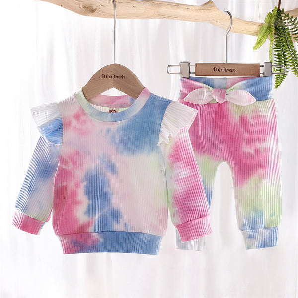 Girls Ruffle Tie Dye Long Sleeve Tops & Pants