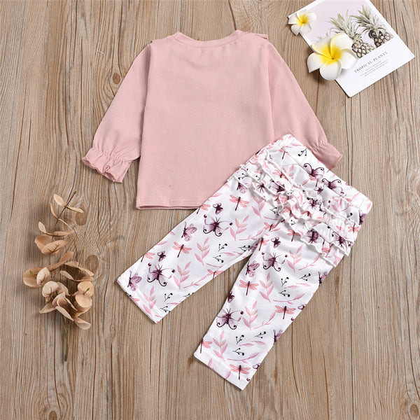 Girls Ruffled Butterfly Printed Long Sleeve Top & Pants Bulk Baby Girl Clothes