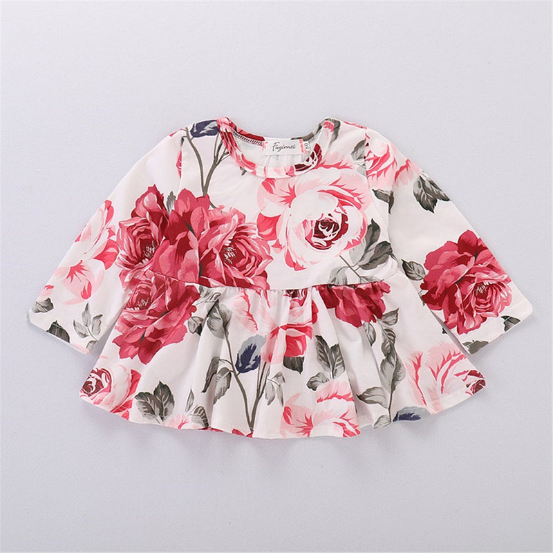 Girls Ruffled Floral Long-sleeve Casual Top & Jeans