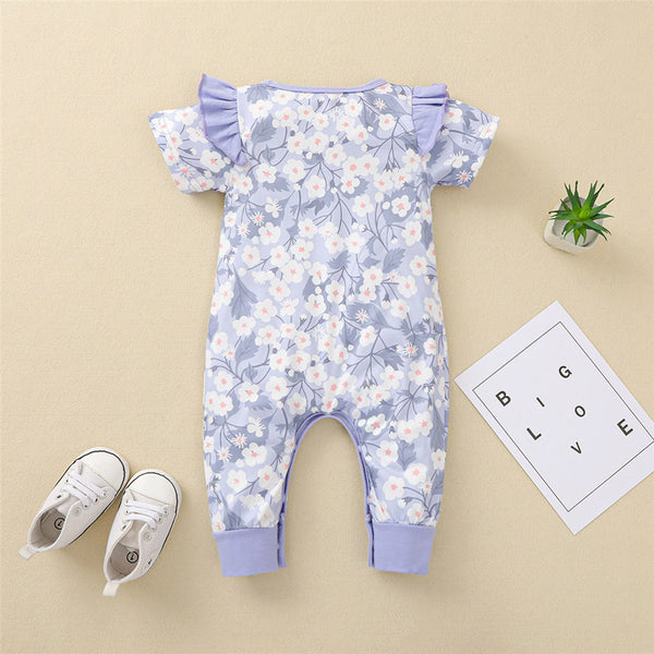 Baby Girls Ruffled Floral Printed Short Sleeve Romper Baby Boutique Wholesale
