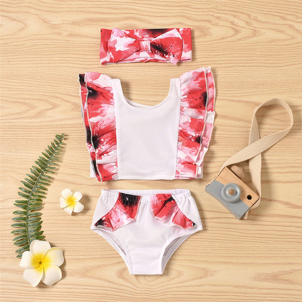 Baby Girls Ruffled Floral Printed Top & Shorts & Headband Swimwear With Shorts