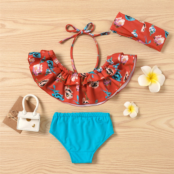 Baby Girls Ruffled Floral Printed Top & Shorts & Headband Toddler 2 Piece Swimsuit