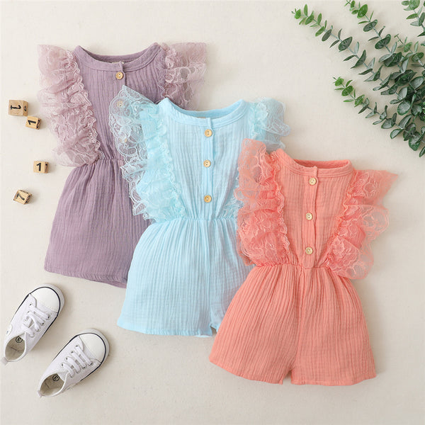 Baby Girls Ruffled Lace Sleeve Solid Color Button Jumpsuit cheap baby clothes wholesale
