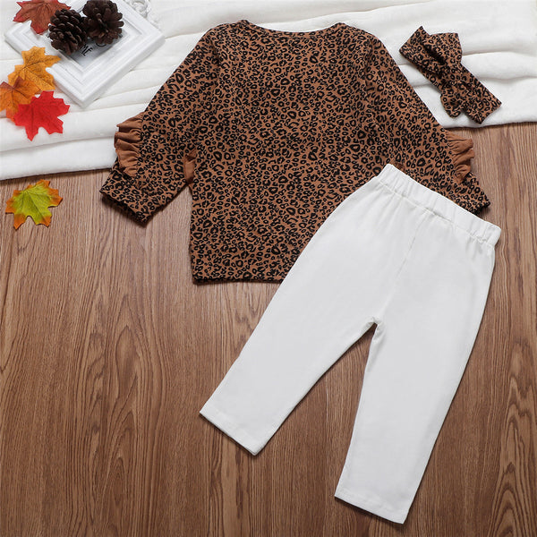 Toddler Girls Ruffled Leopard Long Sleeve Top & Pants & Headband Wholesale