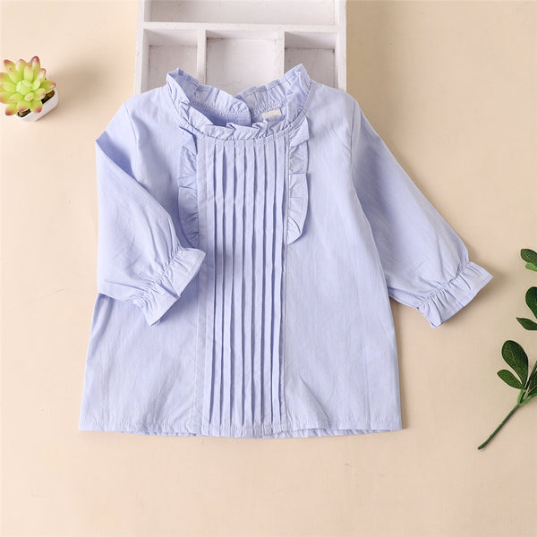 Baby Girls Ruffled Long Sleeve Solid Color Blouse Wholesale Clothing For Girls