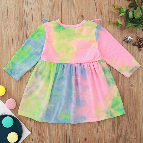 Baby Girls Ruffled Long Sleeve Tie Dye Dress Baby Clothes Warehouses