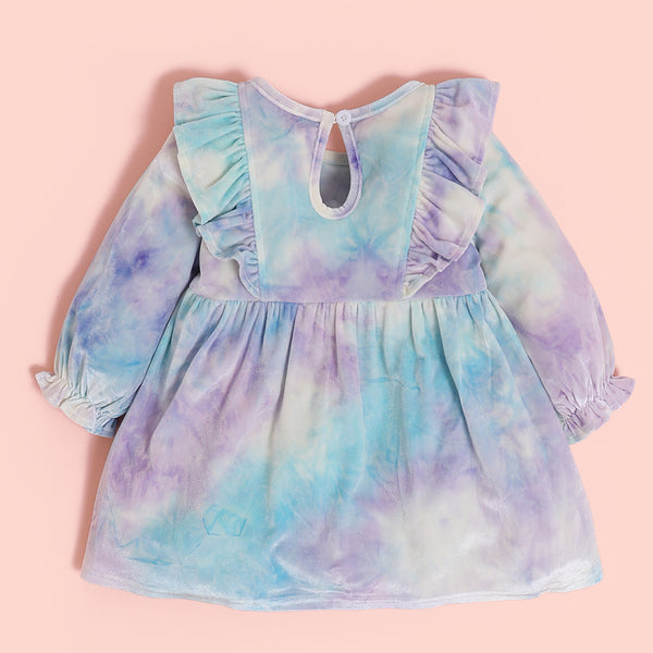 Baby Girls Ruffled Long Sleeve Tie Dye Dress Wholesale Baby Clothing Distributors