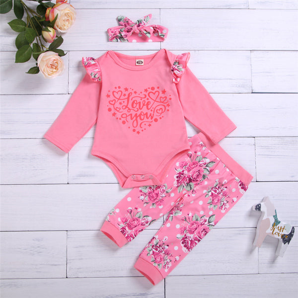 Baby Girl Ruffled Love You Floral Printed Long Sleeve Romper & Pants & Headband Baby Wholesale