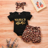 Baby Girls Ruffled Mama's Mini Printed Short Sleeve Romper & Leopard Shorts & Headband Baby Clothes Vendors