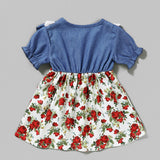 Baby Girls Ruffled Short Sleeve Floral Printed Princess Dress Baby Wholesale Clothes