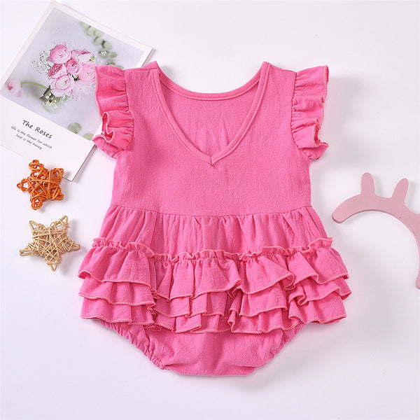 Baby Girls Ruffled Short Sleeve Letter Printed Romper Baby Boutique Wholesale