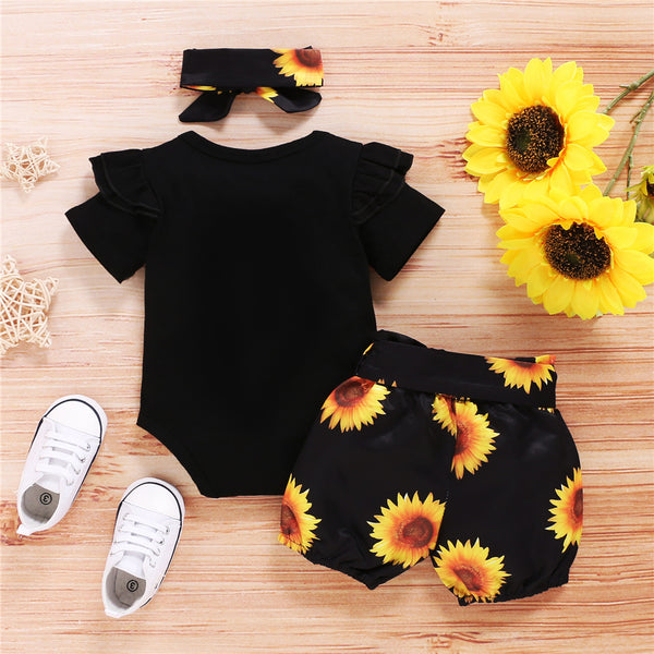 Baby Girls Ruffled Short Sleeve Letter Printed Romper & Sunflower Shorts & Headband cheap baby girl clothes boutique