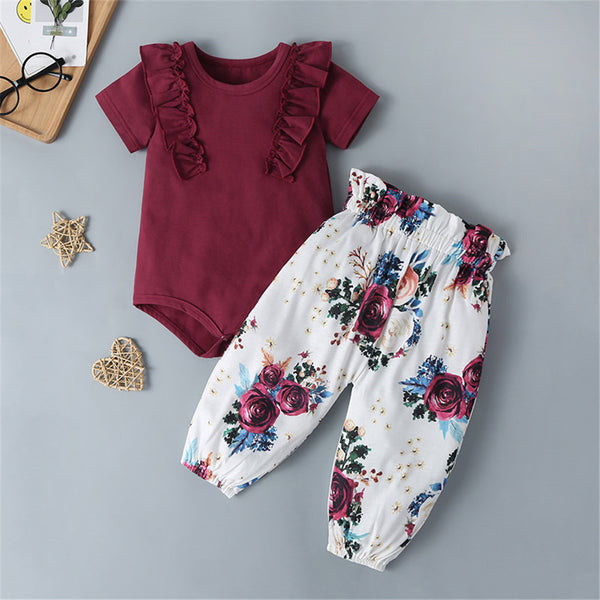 Baby Girls Ruffled Short Sleeve Red Romper & Floral Pants Wholesale Baby Clothes