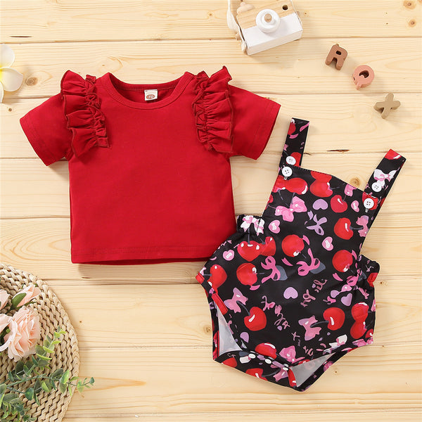 Baby Girls Ruffled Short Sleeve Red T-shirt & Fruit Printed Suspender Romper cheap baby girl clothes boutique