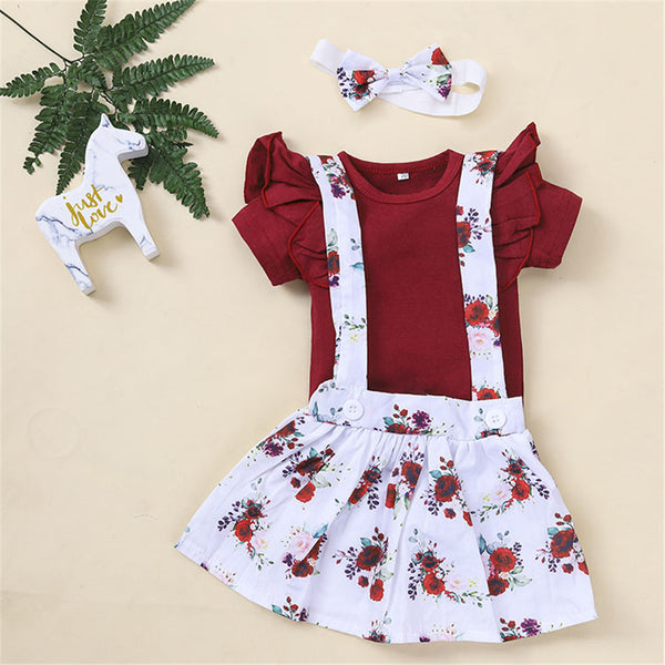 Baby Girls Ruffled Short Sleeve Romper & Floral Suspender Skirt & Headband baby wholesale