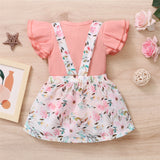 Baby Girls Ruffled Short Sleeve Solid Romper & Floral Suspender Skirt Baby Clothing Wholesale Distributors