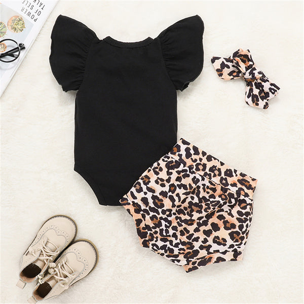 Baby Girls Ruffled Short Sleeve Solid Romper & Leopard Shorts & Headband Spanish Baby Clothes Wholesale