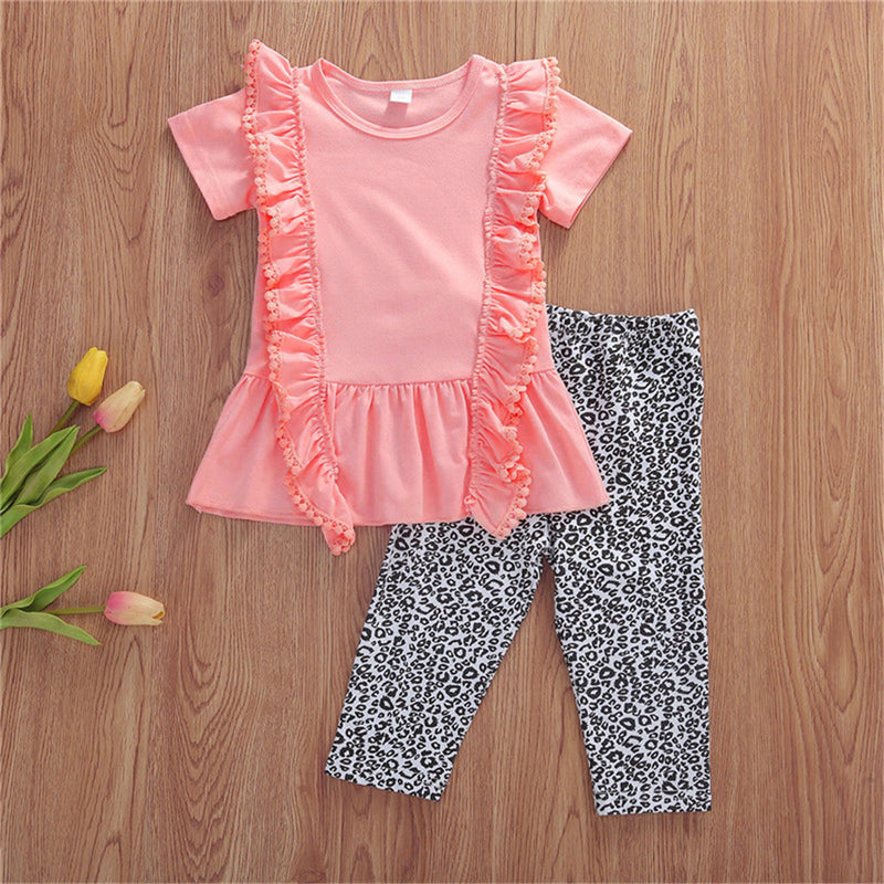 Girls Ruffled Short Sleeve Solid Top & Leopard Pants Wholesale Little Girl Boutique Clothing