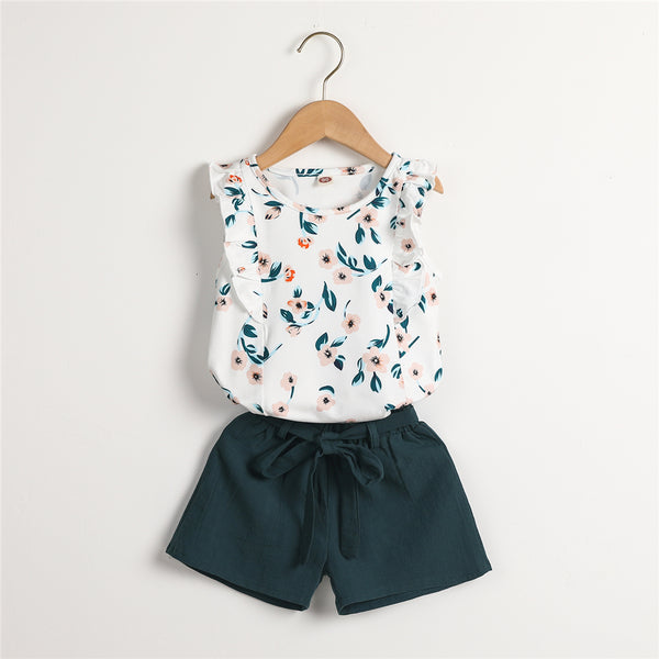 Girls Ruffled Sleeve Floral Printed Top & Solid Shorts Kid Apparel Wholesale