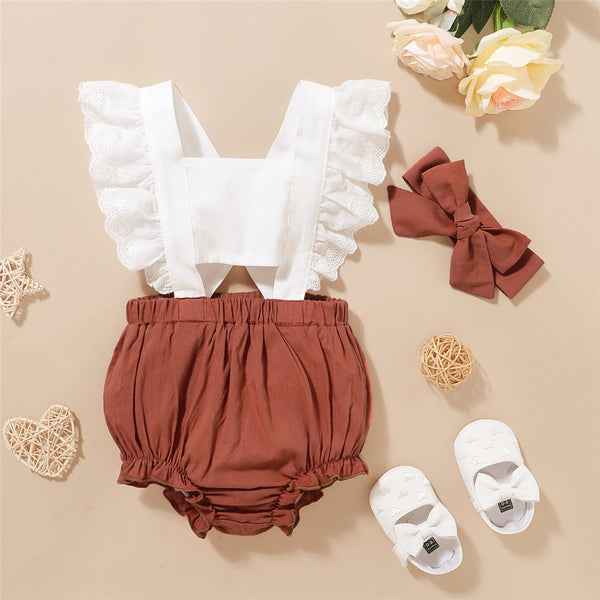 Baby Girls Ruffled Sleeveless Color Contrast Romper & Headband Baby Wholesale Suppliers