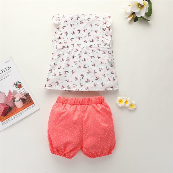 Girls Ruffled Sleeveless Floral Printed Top & Shorts Kid Boutique Clothing Wholesale