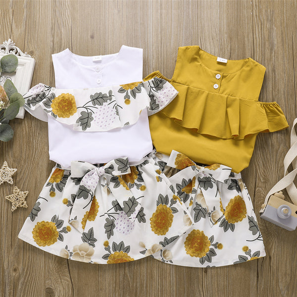 Girls Ruffled Sleeveless Floral Printed Top & Skirt wholesale childrens clothing