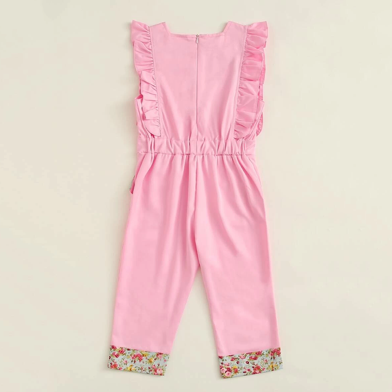 Girls Ruffled Sleeveless Floral Splicing Jumpsuit Wholesale Little Girl Boutique Clothing