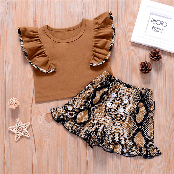 Girls Ruffled Sleeveless Leopard Top & Skirt wholesale toddler clothing