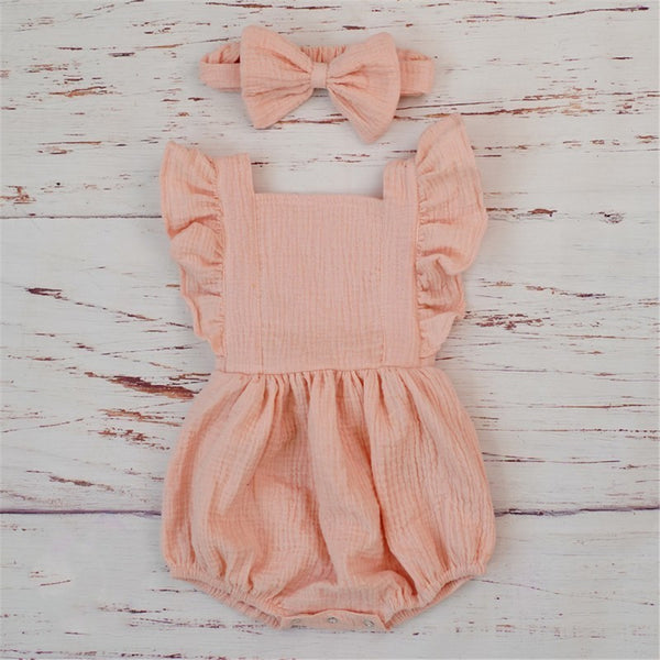 Baby Girls Ruffled Solid Color Casual Romper & Headband cheap baby girl clothes boutique
